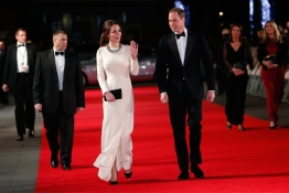 "Britain's Prince William, the Duke of Cambridge and his wife Catherine, the Duchess of Cambridge arrive for the Royal Premiere of ""Mandela: Long Walk to Freedom"" in London."