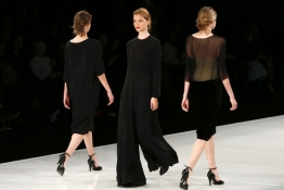 Models present creations by Israeli designer Tamara Salem during Tel Aviv Fashion Week.