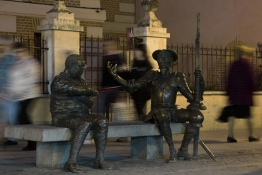 Statues of Don Quixote and Sancho Panza are seen in Alcala de Henares, near Madrid.