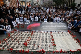 Activists hold pictures of Armenian victims during a demonstration to commemorate the 1915 mass killing of Armenians in the Ottoman Empire, in Istanbul.