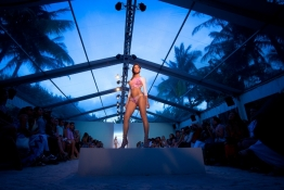 A model presents a creation of Belusso collection during Mercedes Benz Swim Fashion Week in Miami.