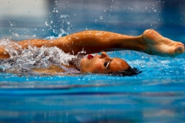 Spain's Ona Carbonell performs in the synchronised swimming solo free final at the European Swimming Championships in Berlin.