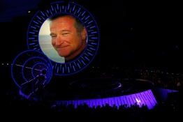 The late actor Robin Williams is shown on screen during a tribute at the 2014 MTV Video Music Awards in Inglewood, California.