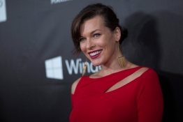 Milla Jovovich poses at amfAR's Fifth Annual Inspiration Gala in Los Angeles.