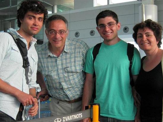 With family at Zvartnots airport.
