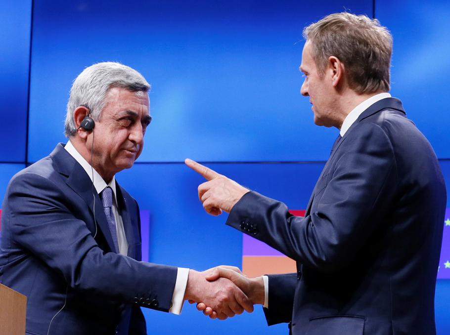 Սերժ Սարգսյանը եւ Դոնալդ Տուսկը 2017թ. փետրվարին